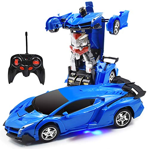 Trimnpy RC Cars for Kids Remote Control Transformrobot Toys, One-Button Deformation 1:18 Gift, 360°Rotating Drifting 2.4Ghz Rechargeable (Blue)