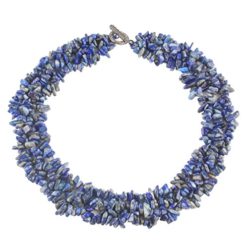 SUNYIK Lapis Lazuli Tumbled Stone Bib Necklace Collar Choker Strands 17.5 inches