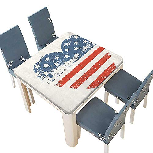 PINAFORE Spillproof Fabric Tablecloth Patriotic American USA Flag Heart Shaped Stars and Stripes Antiqued Inspiratial Kitchen Decoration Washable 53 x 53 INCH (Elastic Edge)