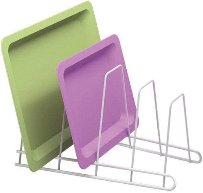 Depory Soporte de la placa Soporte para cuatro bandejas Soporte multifuncional para la cocina Blanco