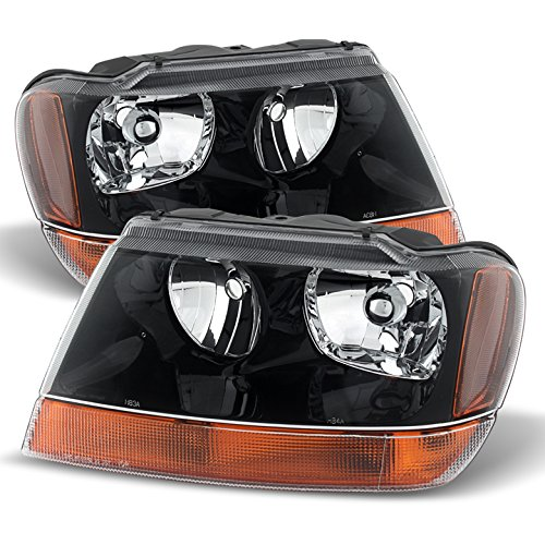 Jeep Grand Cherokee Laredo Crystal Headlights Black Housing With Clear - Laredo Cherokee 1999 Jeep Grand