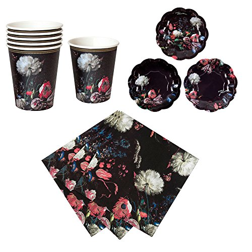 ween & Gothic Porcelain Baroque Party Bundle | Designer Plates, Napkins, and Cups for Masquerade Celebrations and Stylish Parties (Designer Napkins)