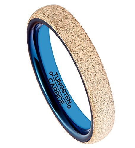 FCL 4MM Tungsten Carbide Wedding Ring Rose Gold Plating Sandblasted Surface Blue Plated Inner Comfort Fit