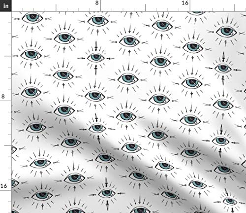 Spooky Fabric - Curses and Spells Eyes Black White Fun Scary Kids Halloween Witch Sorcery Print on Fabric by The Yard - Sport Lycra for Swimwear Performance Leggings Apparel Fashion -