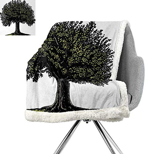 Tree of Life Lightweight Fluffy Flannel and Sherpa Blanket,Digital Design of Mature Fruit Tree in Retro Engraving Style King of Forest,Brown Green,Print Summer Quilt Comforter W59xL78.7 Inch