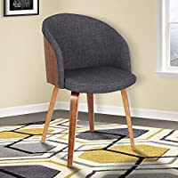 Armen Living LCALCHWACH Alpine Dining Chair in Charcoal Fabric and Walnut Wood Finish