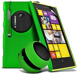 ONX3 4-IN-1 BUMPER SET REGALO - Nokia Lumia 1020 verde piel cubierta trasera dura del caso + Green 3.5MM portátil Mini altavoz de la cápsula + Green retráctil pantalla táctil Stylus Pen + LCD Protector de pantalla