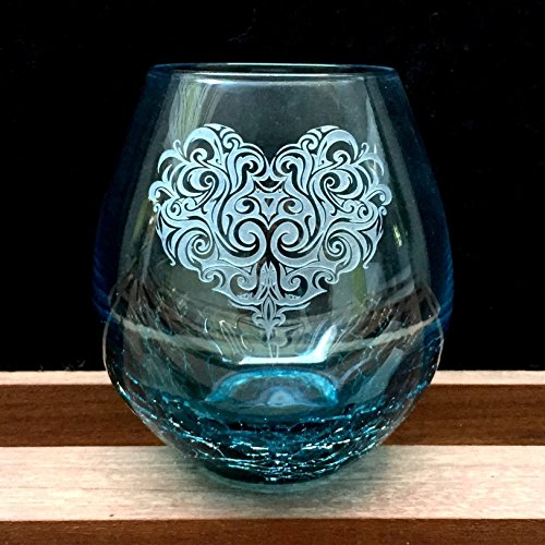 Crackle Teal Stemless Wine Glass, Hand Etched Tribal Heart Design, Sand Carved by Integrity Bottles
