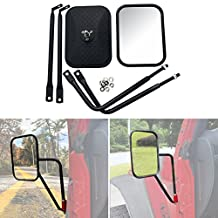 Bentolin 2Pcs Door Off Mirror Side View Door Mirrors for Jeep Wrangler JK CJ YJ TJ 07-17 Shake-proof Road Rectangular Adventure