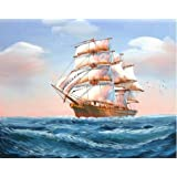 Canvas Prints Of Oil Painting ' a Sailing Ship With Sea Gulls On The Blue Ocean ' , 10 x 13 inch / 25 x 32 cm , Polyster Canvas Is For Gifts And Home Office, Laundry Room And Living Room Decoration