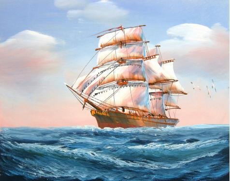 The Polyster Canvas Of Oil Painting 'a Sailing Ship With Sea Gulls On The Blue Ocean' ,size: 16x20 Inch / 41x52 Cm ,this Replica Art DecorativePrints On Canvas Is Fit - Venom Fuel Rails