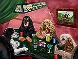 Home of Cocker Spaniels 4 Dogs Playing Poker Art Portrait Print Woven Throw Sherpa Plush Fleece Blanket (60x80 Fleece)