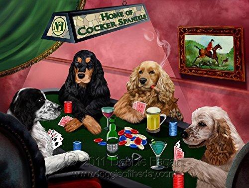 Home of Cocker Spaniels 4 Dogs Playing Poker Art Portrait Print Woven Throw Sherpa Plush Fleece Blanket (54x38 Tapestry (Cocker Spaniel Tapestry Throw)