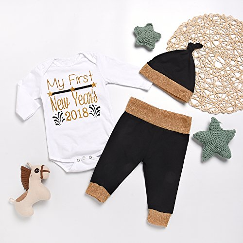 544a14888b13d MILWAY Baby Boy Girl Clothes My 1st First New Year's 2018 Romper Tops +  Black Pant