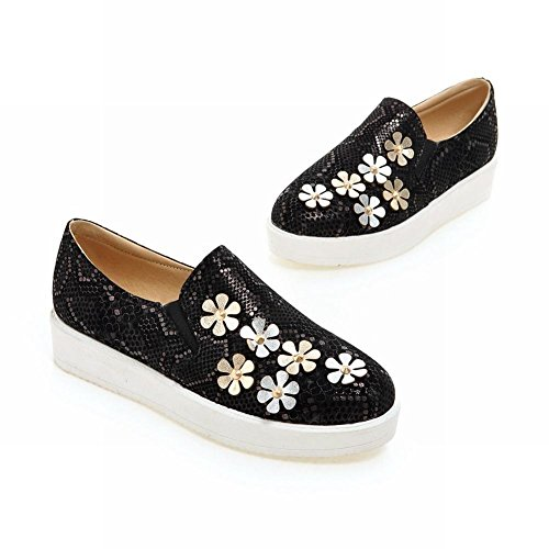 Carolbar Donna Stampa Modello Serpente Applique Sweet Cute Lovely Lolita Moda Scarpe Bungee Flats Nere