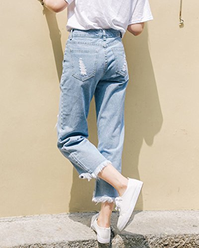 Gamba Pantaloni Chiaro Alta Larga Donna Boyfriend Distruggere Jeans Vita A Azzurro 0vSqXT