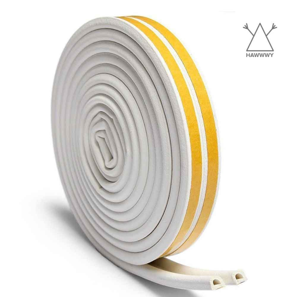 Door Weather Stripping for Doors and Windows - 23 FEET - Self-Adhesive  Double Seal Soundproof Weather Stripping - D-Shape Strip Tape - White - -  Amazon.com