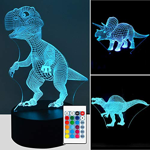 3 Model Night Lights for Kids Dinosaur 3D Night Light Bedside Lamp 7 Colors Changing with Remote Control Best Birthday Gifts for Boys Girls Kids Baby YYage