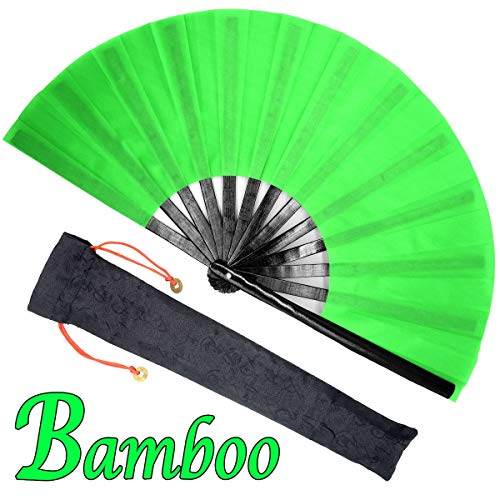 (OMyTea Bamboo Large Rave Folding Hand Fan for Men/Women - Chinese Japanese Kung Fu Tai Chi Handheld Fan with Fabric Case - for Performance, Decorations, Dancing, Festival, Gift (Green))