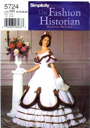 Civil War Ball Gown Pattern - Simplicity 5724 Sewing Pattern Misses Civil War Ball Gown Full Figure Size 14 - 20