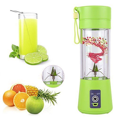 Warmoor Upgraded Fruit Juicer Cup, Portable Travel Juice Blender/Mixer/Extractor, Household Fruit Mixing Machine, Rechargeable with USB Charger Cable, 380ml (Green)