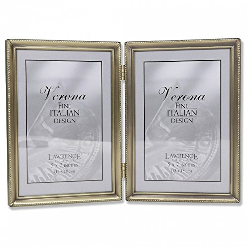 Frame Pewter Baby Finish (Lawrence Frames Antique Brass 5x7 Hinged Double Picture Frame - Bead Border Design)