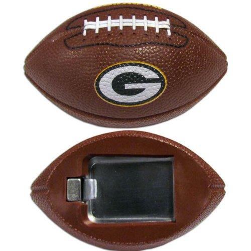 NFL Green Bay Packers Football Bottle Opener Magnet, 3-Inch, Brown - Green Bay Packers Brown Football