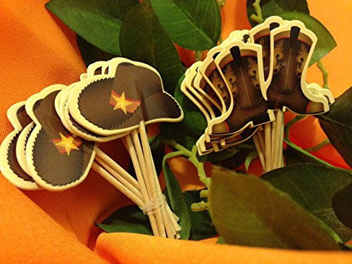 Cowboy Hats & Boots Cupcake Toppers Decorations Cupcake Picks 48 Ct -