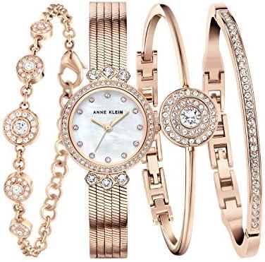 Anne Klein Women's Premium Crystal Accented Chain Watch and Bracelet Set, AK/3302