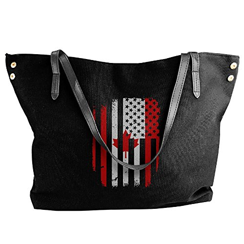 Flag Large Handbag Women's Bags Tote Canadian Messenger Black American Canvas Shoulder Iq0w0R5