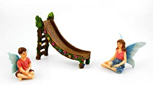 NW Wholesaler Fairy Garden Kit - 2 Fairies with Slide 3 Piece Set - Fairy Garden Kit for All Ages with Two Fairies and One Slide Accessory (Fairy Blue Wings)