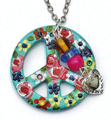 Hippie Turquoise Peace Sign Necklace with Painted Flowers Dangling Heart Charm Swarovksi Crystal Rhinestones