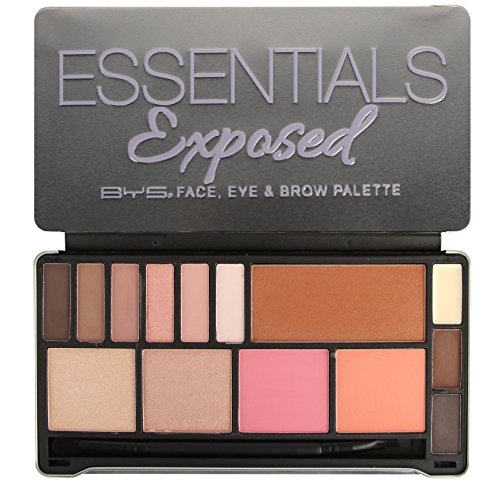 Multi Blush Cream Compact - BYS Essentials Exposed 5in1 Face Eye and Brow Palette Makeup Set with Applicator 14 Shades