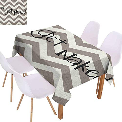 zojihouse Quote Get Naked Phrase with a Little Heart on Zig Zag Backdrop Hand Drawn Style Tablecloth Soft and W70xL84 Taupe Cream Black (Iron And Wine Naked As We Come)
