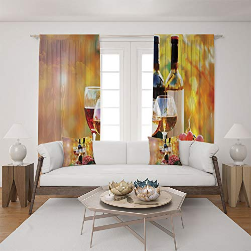 2 Panel Set Satin Window Drapes Living Room Curtains and 2 Pillowcases,on Grape Plantation Countryside Harvest Rural ,The perfect combination of curtains and pillows makes your living room warmer