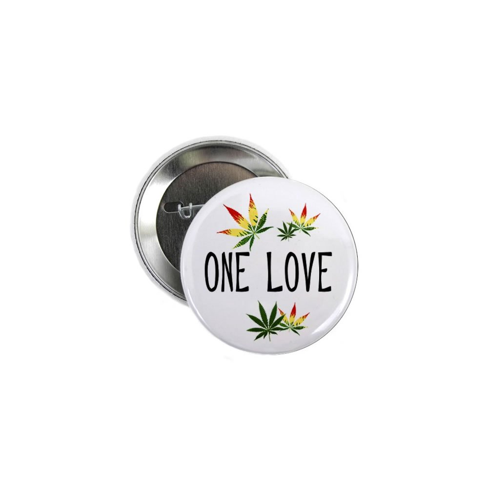 One Love Marijuana Pot Leaf 100-Pack 2.25 inch Pinback Button Badges by Stare At Me (Image #1)