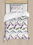 Ambesonne Dragonfly Duvet Cover Set Twin Size, Abstract Bugs with Ethnic Hippie Style Sketchy Flowers Artwork, Decorative 2 Piece Bedding Set with 1 Pillow Sham, Purple Green and Pale Blue