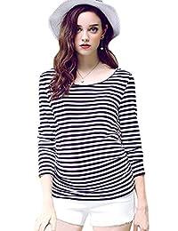 Smallshow Women's Maternity Nursing Tops Stripe Casual Long Sleeve Breastfeeding Tees
