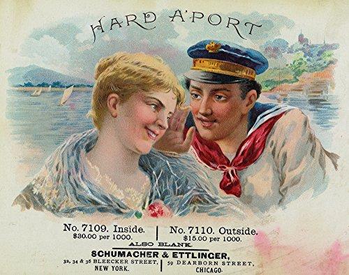Hard A'Port Brand Cigar Box Label - Navy