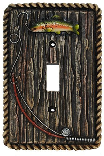 Rainbow Trout Fish & Fly Rod Single Switch Cover Plate