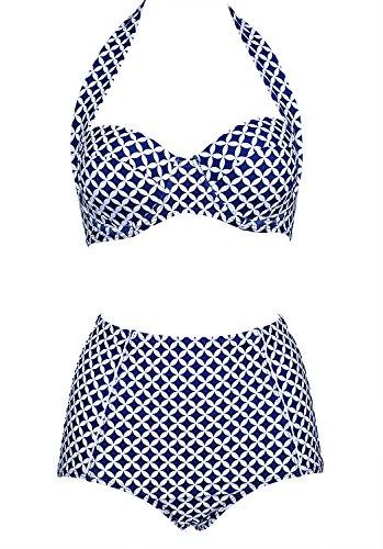 Stripsky Women's Elegent Retro Vintage Adjustable Halter Swimsuit High Waist Bikini Bathing Suit(US4-6,Blue)