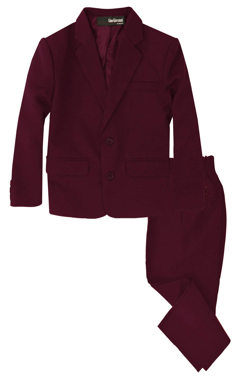 G218 Boys 2 Piece Suit Set Toddler to Teen (Burgundy, 2T)
