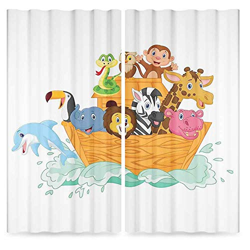 (Religious Decor Collection,Fun Animals in The Ark Floating Myth Creatures Grace Nature Illustration Art Decorative,for Bedroom Living Dining Room Kids Youth Room, 2 Panel Set,86W X 70L Inches)