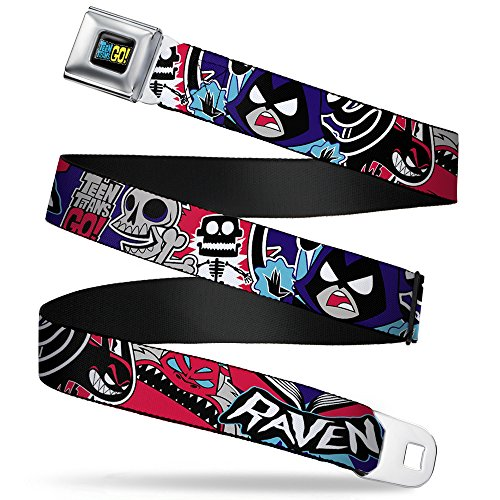 Buckle Down Big Boys Teen Titans Go! Raven/demon/trigon Purple Seatbelt Belt, multi, (Raven Teen Titans Belt)