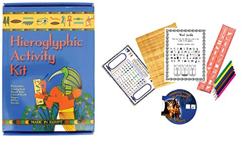 Discoveries Egyptian Imports - Ancient Egyptian Boxed Hieroglyphic Activity Kit - Made in Egypt - Bonus Bookmark and Notebook Included