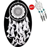 "Large Dream Catcher Handmade Traditional White Laces 8"" Diameter 24.8"" Long by YYAO"