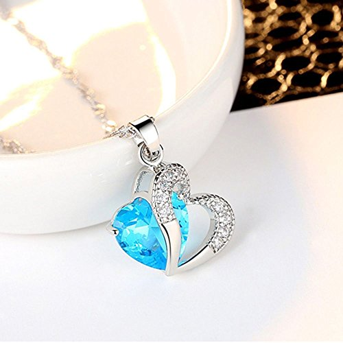 (Blue Stone Pendant Necklace Chain for Women Girls Long Statement Jewelry)