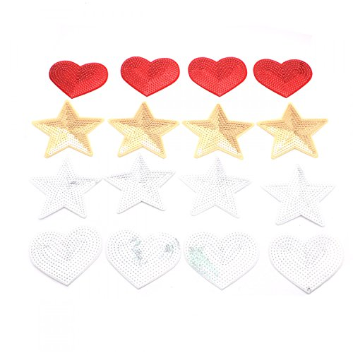 Iron On Sequins - HUELE Set of 16 Shiny Heart Star Sequins Iron On Embroidered Applique Sequin Patches For Clips Jeans Clothing