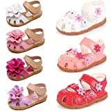 DADAWEN Girls' Closed-Toe Summer Solid Flower Outdoor Sport Casual Sandals(Toddler/Little Kid) Rose Red US Size 7 M Toddler
