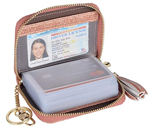 Yuhan Pretty Womens Credit Card Holder Wallet RFID Leather Small ID Card Case (20 Card Slots - Glitter Gold) (Credit Wallet 20 Card)